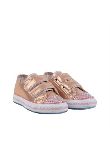 Kids A More Letzy Çift Cırtlı Önü Taş Detaylı Pu Deri Işıklı n Kız Çocuk Ayakkabı  Pudra